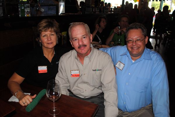 Lydia Campanola and John Campanola, owners of Hello Eco, with Steve Shelby, owner of Farvision Networks.