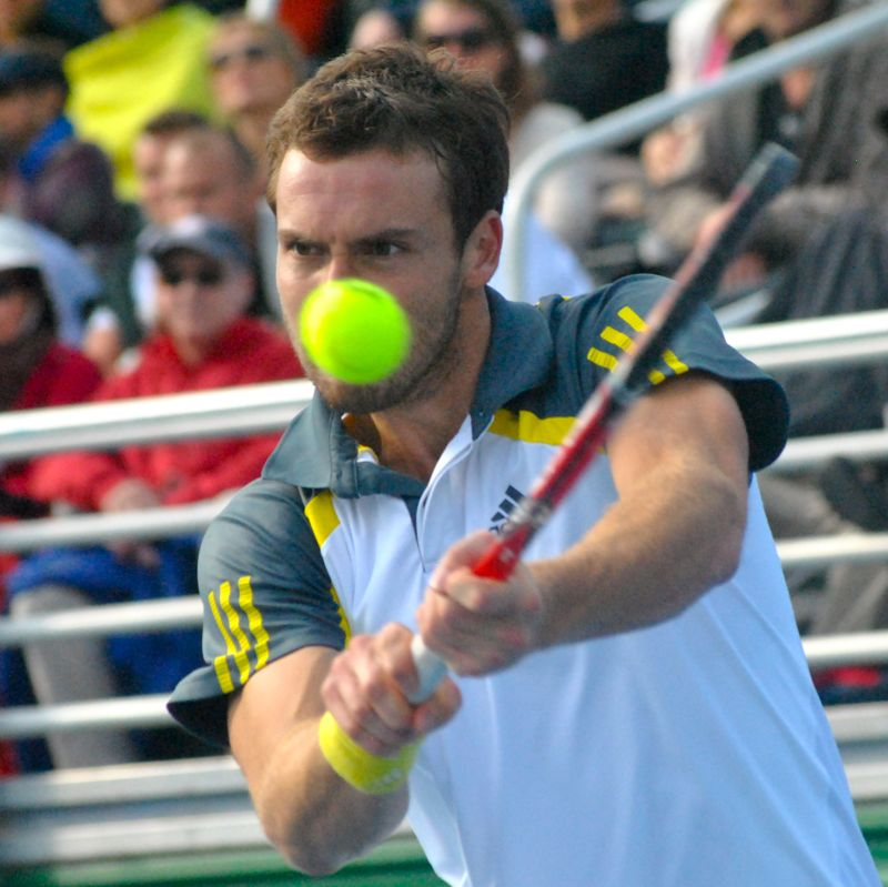 Keeping his eyes on the ball ... Ernests Gulbis in his finals match against Edouard Roger-Vasselin of France. Gulbis won
